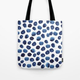 India - blue paint, ink spots, design, watercolor brush, dots, cell phone case Tote Bag