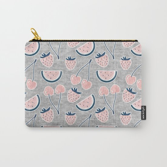 Fruit Pattern on Gray Melange Carry-All Pouch