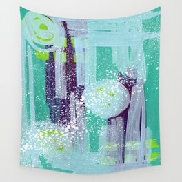Teal Background Wall Tapestry