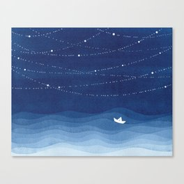 Follow the garland of stars, ocean, sailboat Canvas Print
