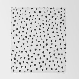Dalmatian dots black Throw Blanket