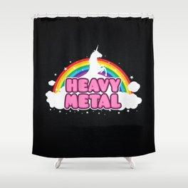 HEAVY METAL! (Funny Unicorn / Rainbow Mosh Parody Design) Shower Curtain