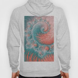 Abstract Coral Reef Living Coral Pastel Teal Blue Texture Spiral Swirl Pattern Fractal Fine Art Hoody