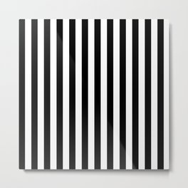 Stripes Black and White Vertical Metal Print