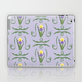Iris Flowers Illustrated Pattern Purple Green Yellow Summer Garden Laptop & iPad Skin