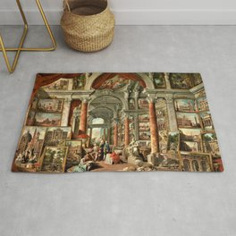 Giovanni Paolo Pannini 19th Century Masterpiece: Picture Gallery with Views of Modern Rome Rug