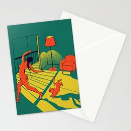 Dancing with the cat   Moody sunset light and shadows Aesthetic Green room Naked dance Femme Fatale  Stationery Cards