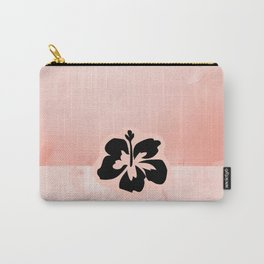 Black flower on pink background Carry-All Pouch