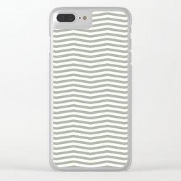 Desert Sage Grey Green and White Chevron Stripe Clear iPhone Case