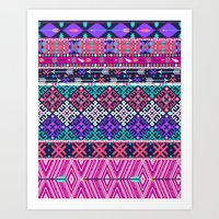 Tribal seamless aztec pattern with birds and flowers Art Print