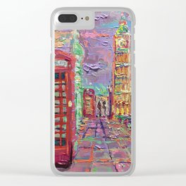London City Life - palette knife abstract urban city streets architecture Big Ben Clear iPhone Case