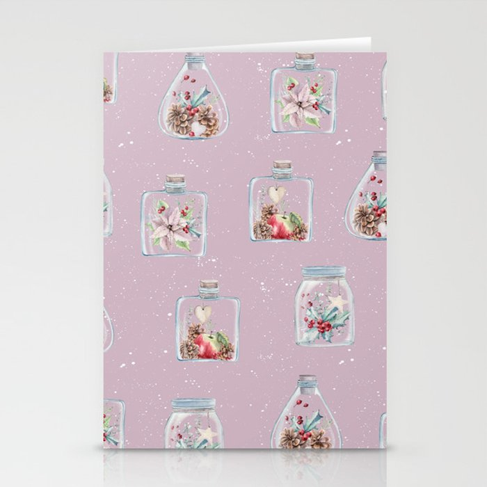 Christmas Pattern Pink Stationery Cards