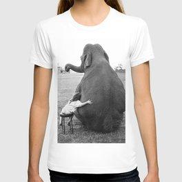 Odd Best Friends, Sweet Little Girl hugging elephant black and white photograph T-shirt