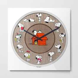 snoopy clock Metal Print