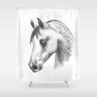 arab Shower Curtains featuring Arab horse head by Mindgoop