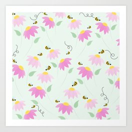 Pretty Flowers & Buzzing Bees Art Print