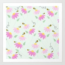 Pretty Flowers & Buzzing Bees Art Print