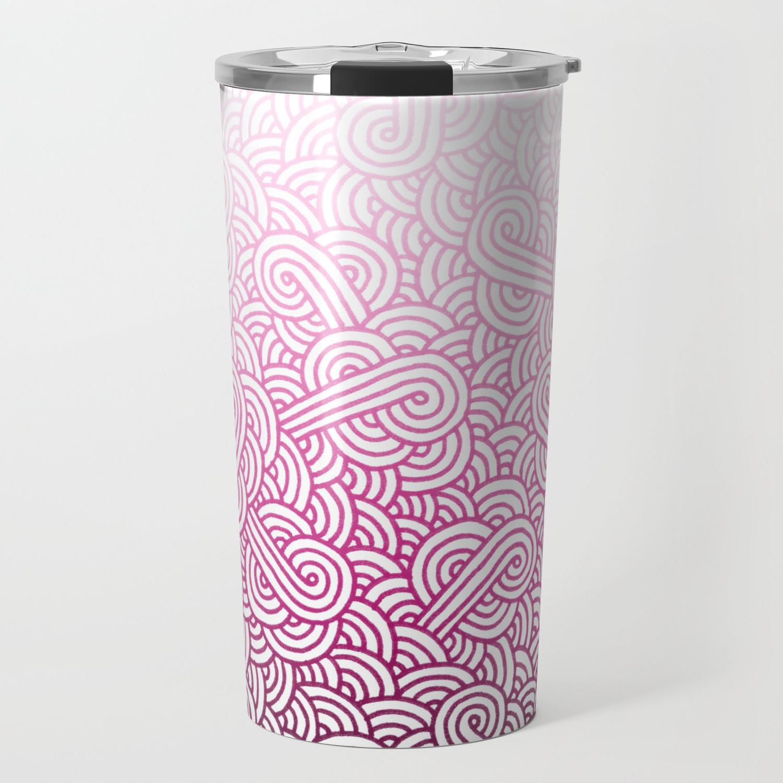 Doodles White And Mug Pink Gradient Travel Swirls VqUzMGSp