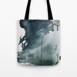 Lakeside: a minimal, abstract, watercolor and ink piece in shades of blue and green Tote Bag