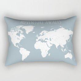 Adventure Awaits World Map in Slate Blue Rectangular Pillow