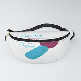 Funny ASMR Cut Soap Drink Wine Repeat graphic Fanny Pack