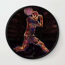 Roger Federer Roger Federer Tennis Match Artistic Illustration Firework Style Wall Clock
