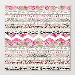 Aztec Spring Time!   Girly Pink White Floral Abstract Aztec Pattern Canvas Print