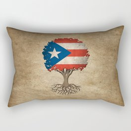 Vintage Tree of Life with Flag of Puerto Rico Rectangular Pillow