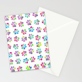 Puppy Paw Print Stationery Cards