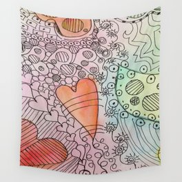 Puzzled Hearts Wall Tapestry