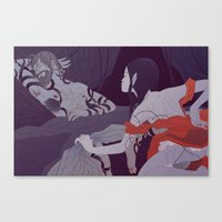 Ruth Uncovers Boaz's Feet (by Gloria Pizzilli) Canvas Print