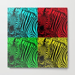 Pop Art Zebras - Help fund education for the impoverished in Malawi, Africa.  #MoreThanAid. Metal Print