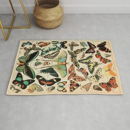 Adolphe Millot 1800s Vintage Butterfly Rug
