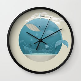 Seagull rest over whale Wall Clock