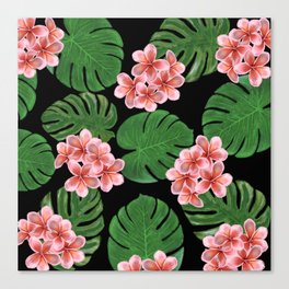 Tropical Floral Print Black Canvas Print