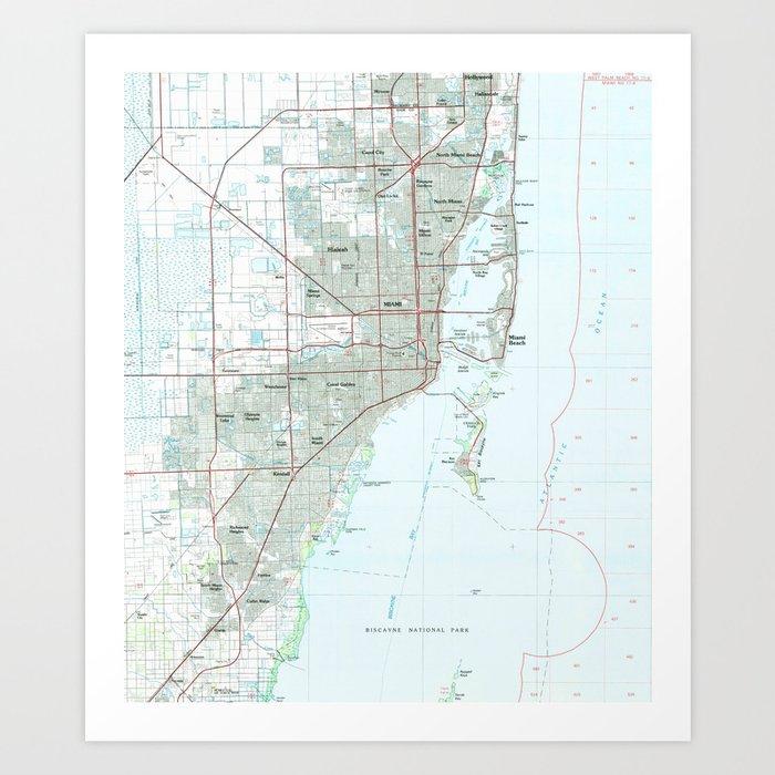 Florida Map Miami.Miami Florida Map 1981 Art Print By Bravuramedia Society6
