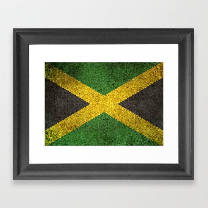 Old and Worn Distressed Vintage Flag of Jamaica Gerahmter Kunstdruck