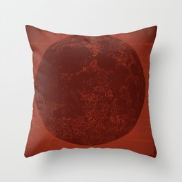 Full Moon Red Throw Pillow