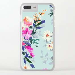 Painted vintage florals Clear iPhone Case
