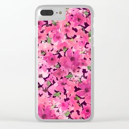 Rosy Pink Field Flowers Clear iPhone Case