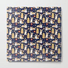 Corgis celebrate christmas - blue pattern Metal Print