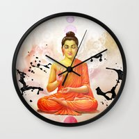 buddha Wall Clocks featuring Buddha by O. Be
