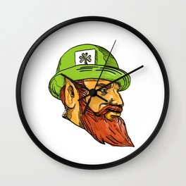 Leprechaun Head Side Drawing Wall Clock