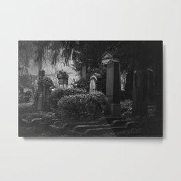 Dramatic scary monochrome cemetery. Dark gothic vintage graveyard. Fear death noir horror tombstone. Metal Print