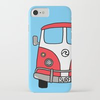 vw bus iPhone & iPod Cases featuring VW Bus Red by Cheryl Syminink
