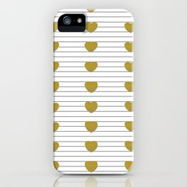 Gold Hearts and Thin Stripes iPhone Case