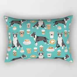 Bull Terrier coffee latte cafe dog breed cute custom pet portrait pattern Rectangular Pillow