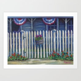 Patriotic Porch Art Print
