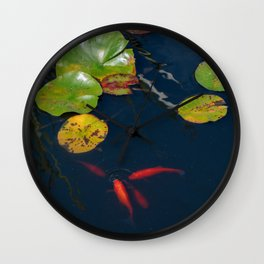 Red Koi Fish in Lily Pad Pond Wall Clock