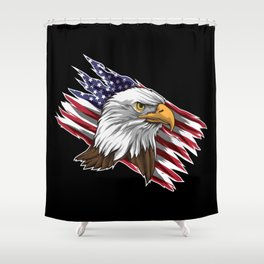 Patriotic Bald Eagle Head | Stars and Stripes Flag Shower Curtain